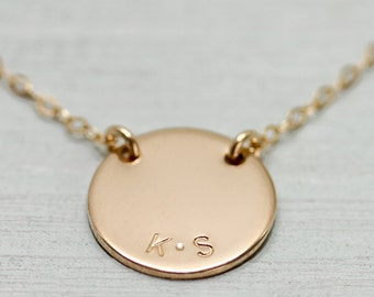 Gold disc necklace - personalized jewelry - gold necklace - gold name necklace - dainty gold jewelry - engraved necklace - engraved necklace