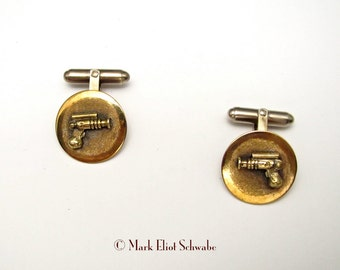 Ray Gun sci fi steampunk brass cuff links
