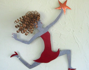 Metal Wall Art Girl Chasing A Star Sculpture Recycled Metal Wall Art Blonde Red Celestial Whimsical Wall Decor Female Figure 15 x 15