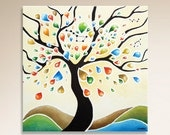 Abstract Tree Painting Wall Art, Tree Art ORIGINAL Painting on Canvas, Landscape Painting Wall Decor