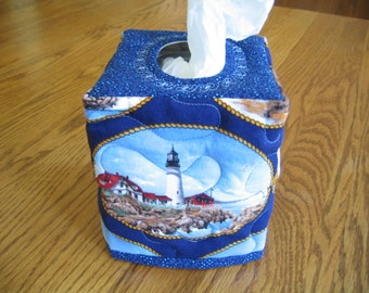 Quilted Tissue Cover in a Lighthouse Pattern