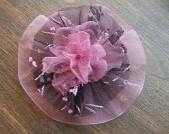 Mauve & Black Fabric Flower