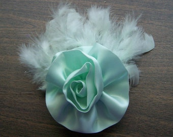 Fascinator of Soft Green Satin & Feathers