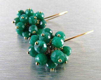 Faceted Emeralds with Gold Filled Cluster Earrings