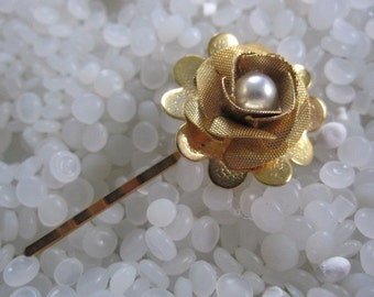 vintage gold hairpin. gold rose with pearl center