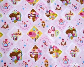 Kawaii Japanese Fabric - Cute Girls on Pink - Half Yard (ca0913)
