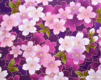 Japanese Kimono Fabric - Sakura on Purple - Half Yard (syu150615)