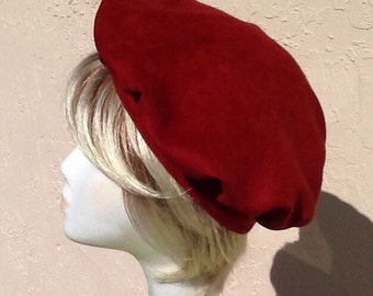 Soft Suede full Beret in Merlot Shade