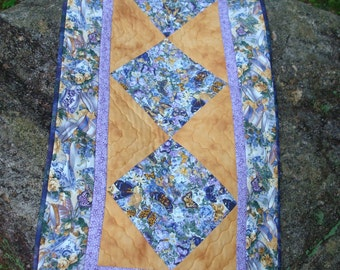 Butterflies and Teacups in Purple Gold Quilted Table Runner