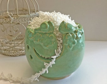 Lovebirds yarn bowl knitting bowl stoneware