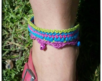 Boho crochet anklet, ankle bracelet, colorful anklet with bells, festival
