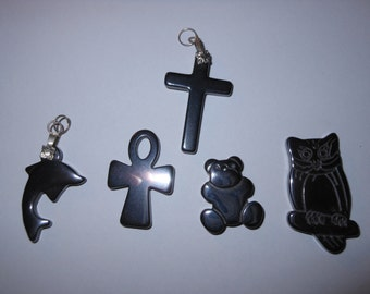 5 Assorted  Hematite Charm Pendants for Jewelry Making