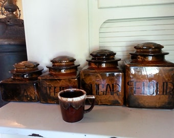 Pottery canister set brown glaze drip wear look kitchen decor