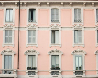 Italy Photography, Pink Windows on Corso Como, Milan Architecture, Pink, Gallery Wall Art, Rebecca Plotnick, Summer in Italy
