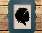 Ornate Frame - Custom Silhouette Portrait - Red and Turqoise Ornate Frame - 5x7 Art Print -Wooden Frame -  Beautiful Unique