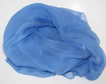 "Periwinkle Silk Scarf - Bright Colorful Blue -Photo Prop - Infant Wrap - Hand Dyed Silk - Low Shipping - Accessory - 20"" x 84"""