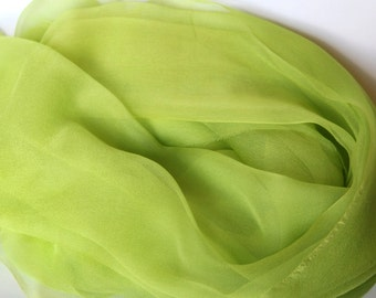 BEST SELLER - Chartreuse Silk Scarf -  Chiffon Gauze - Accessory - Felting Supplies - Photo prop, Infant wrap - Low Shipping
