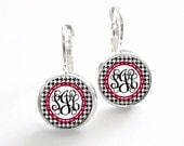 Houndstooth Monogram Dangle Earrings (530)