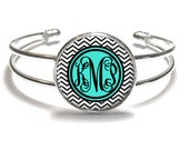 Monogram Bracelet, Black Chevron Monogram Bangle, Monogram Jewelry, Bridesmaid Gift, Personalized Bracelet - Style 515