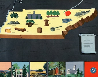 Vintage Pictorial Map of Tennessee 1939 World's Fair