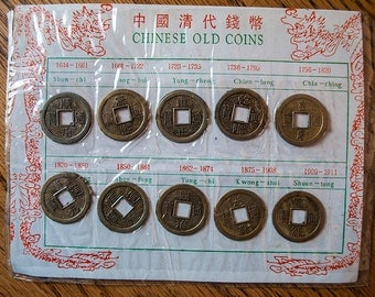 24mm Vintage Brass Chinese Coins - Qty 10