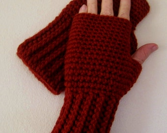 Crocheted Fingerless Gloves / Wrist Warmers - Red Brick