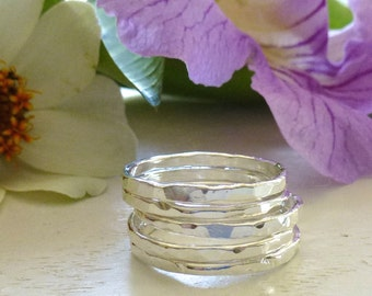 Stacking Rings - Fine Silver Rings - Silver Rings - Five (5) Silver Stacking Rings - 14 Gauge Fine Silver Rings - Shiny Rings