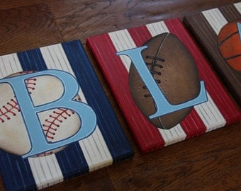 """8"""" x 10"""" Personalized Name Wall Sports Baseball Soccer Golf Basketball Football Canvas Art Boys Bedding Room Decor (price per letter)"""