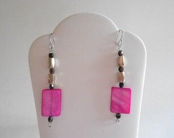 Hot Pink Shell Beads Earrings Black Czech Glass Beads Hot Pink Earrings Pink Shell Earrings Pink Earrings Pierced Earrings Dangle Earrings