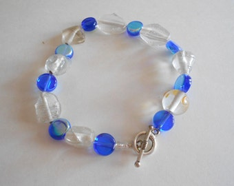 Blue Clear India Glass Beads Bracelet Clear Bracelet Blue Bracelet Blue Beads Bracelet Cobalt Blue Bracelet Clear Beads Bracelet