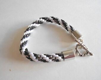 Black Bracelet White Bracelet Kumihimo Bracelet Braided Bracelet Silky Cord Bracelet Rattail Cord Woven Bracelet Japanese Braid