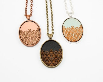 Geometric Floral Pattern Necklace - Laser Engraved Wooden Cameo (Custom Made / Any Color)