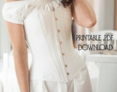 Printable Victorian Corset Pattern size L, Corset Sewing Pattern for Civil War, Bustle Era, and Romantic, Instructions Included