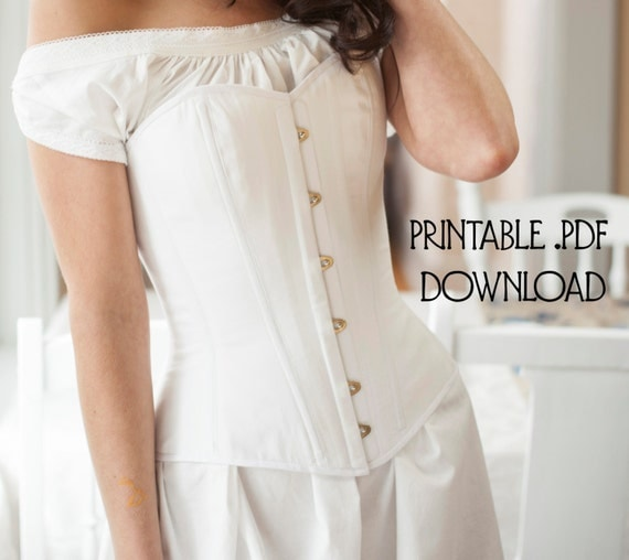 Victorian Corsets – Old Fashioned Corsets & Patterns Printable Victorian Corset Pattern size L Corset Sewing Pattern for Civil War Bustle Era and Romantic Instructions Included $20.00 AT vintagedancer.com