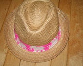 Ladies Fedora hat made with a Lilly Pulitzer fabric band