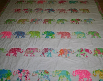 Queen size Elephant Parade quilt made with Lilly pulitzer fabric