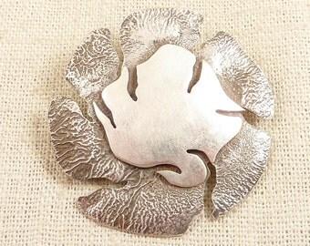SALE ---- Vintage Modern Artist Handmade Sterling Organic Shaped Pendant Brooch
