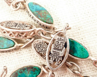 Vintage Peruvian Sterling Tribal Figure Chain Long Strand Necklace with Chrysocolla Stone Inlay