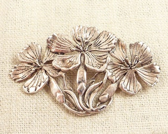 Vintage Artist Signed Sterling Three Poppies Brooch