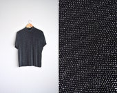 vintage '80s black/silver METALLIC DISCO short sleeve mock TURTLENECK top. size xl.