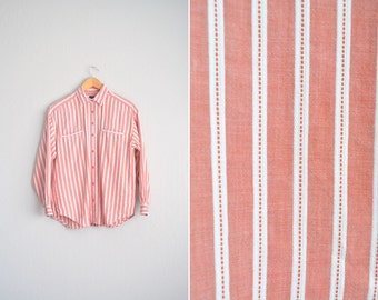 vintage '90s CORAL pink & white STRIPED OVERSIZED button-up shirt. size m l.