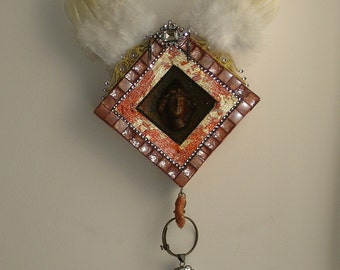 Archangel Michael Wall Hanging Shrine Handmade OOAK
