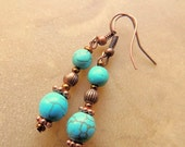 Turquoise and Copper Dangle Earrings, Native Style, Boho Jewelry, Copper Jewelry, Handcrafted Jewelry, Turquoise Jewelry