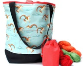 Studio Tote Extra Large Knitting Project Crochet WIP Tote Bag and Tot - Unicorns & Rainbows