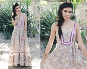 1970s Gunne Sax Style Boho Sleeveless Maxi Dress