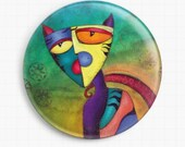 Needle Minder - Licensed Art By Laura Barbosa -Celestial Cat Cross Stitch Keeper - Fridge Magnet