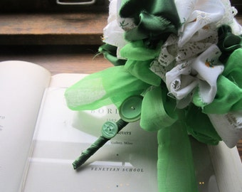 Vintage Fabric Bridal Bouquet * Fabric Wedding Flowers * Green and Ivory * Fabric Flower Poms
