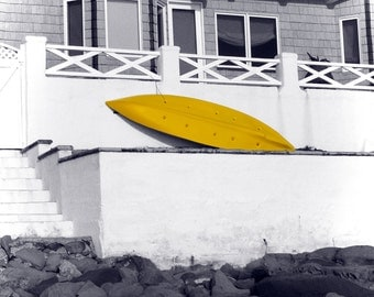 Yellow Boat beach house photography print (free shipping)