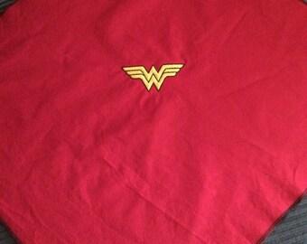 """Wonder Woman Bandana with yellow embroidery.  22"""" x 22"""""""