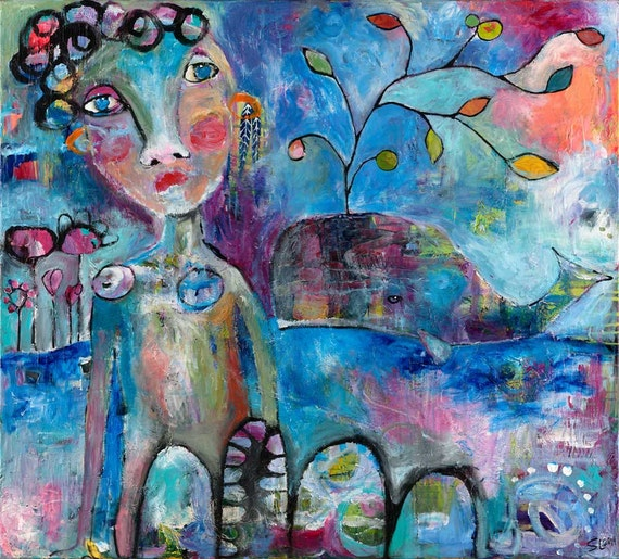 Woman and Whale || bold soulful acrylic mixed media CANVAS print